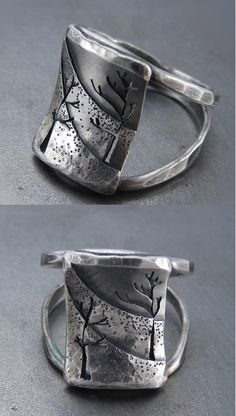 Wow!!! spectacular work!! Ring | Beth Millner. 'Northern Slope'. Sterling silver and patina.