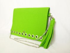 GlamFelt clutch bag with chain and key ring electric green http://totostyle.pl/