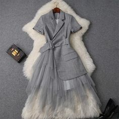 New Fashion Runway Designer Summer Dress Women Clothes 2019 Elegant OL Notched Collar Blazer Patchwork Tulle Party Office Dress Short Outfits, Dress Outfits, Short Dresses, Fashion Dresses, Dress Clothes, Dress Shoes, Shoes Heels, Work Clothes, Stylish Outfits