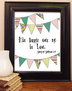 Scripture Art, His Banner over me is Love Wall Art Christian Art, Bible Verse Art by VioletsforEmerson