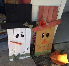 Snowman and scare crow with pumpkin out of wood