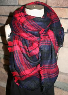 Tartan Blanket Scarf  Navy and Red Plaid Scarf Christmas Gift Scarves Zara Style Plaid Bloggers Favorite-Sale-Monogramming Avail by SewPriorAttireMitten on Etsy