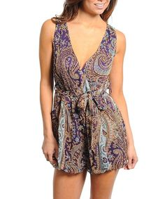 SEXY TRENDY Tribal BOHO CHIFFON SHORTS PLAYSUIT JUMPER PLUNGE ROMPER NEW S #Tae #Romper