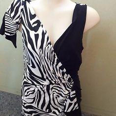 JOSEPH-RIBKOFF-Black-amp-White-Zebra-Print-Dress-Size-US12-UK14