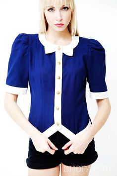 Vintage 80s Nautical Blouse - Navy Blue and White Bow Tie Button Up Short Sleeve Jacket Top - Summer Fashion