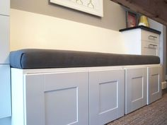 Kitchen Storage Bench Seating Best Of Diy Upholstered Banquette Seat Part One Storage Bench Seating, Kitchen Storage Bench, Banquette Seating, Kitchen Benches, Bench With Storage, Storage Ideas, Book Storage, Kitchen Booths, Kitchen Seating