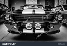 Berlin, Germany - May 17, 2014: Shelby Mustang Gt500 Cabrio Eleanore (1967) - Is A High-Performance Version Of The Ford Mustang. Black And White. 27th Oldtimer Day Berlin - Brandenburg Stock Photo 198136850 : Shutterstock