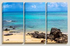 Calming Muti Color Saphire Ocean, Beach, Oahu, Hawaii, Big Island, Yellow Sand Black Rocks, Aqua, Canvas Art, Coastline, Triptych