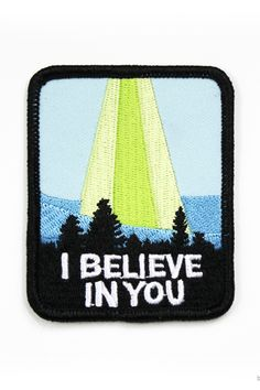 """""""I believe in you, I believe in babies"""" embroidered patch on twill iron-on backing approx. 1.5"""" tall x 3"""" wide"""