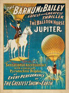 "Antique Circus Poster ""Jupiter the Balloon Horse"" Vintage Americana Carnival Print - Victorian Steampunk Art - Hot Air Balloon - Horse Art"