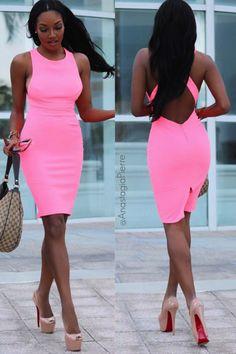 Joana Neon Pink Backless Bodycon Dress