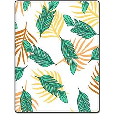 Shower Curtain 72 X 80 Inch Art Leaf Pattern Green Yellow Printing Polyester Fabric