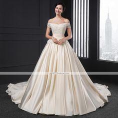A-line Wedding Dress - Champagne Chapel Train Off-the-shoulder Satin - USD $ 349.99 | LightInTheBox