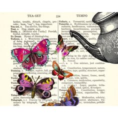 TEAPOT, TEACUP and BUTTERFLIES on vintage book page - archival art... ($20) ❤ liked on Polyvore