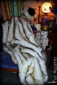Faux Fur Throw  Blanket  Russian Wolf  White With Black Tips