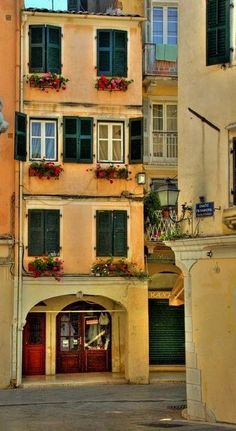 Houses in the town of Corfu Greece Art Architecture Greece Art, Corfu Greece, Myconos, Corfu Town, Corfu Island, Romantic Homes, To Infinity And Beyond, Greek Islands, World Heritage Sites
