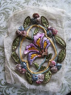 Antique Ombre Ribbonwork Flower Applique French Crinoline Original Rare Large Floral  from the 1920's  I adore this!!