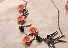 Spring Flower Bird Necklace Choker Necklace Women Necklace