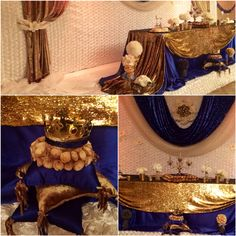 Royal Prince baby shower  Royal blue, gold and white theme   Please follow us on IG @wedding_decor_backdrops