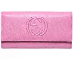 Gucci Pink Soft Grain Leather Long Envelope Purse ($580) ❤ liked on Polyvore