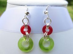 Christmas Earrings Dangle Earrings Red and Green by JentikManis