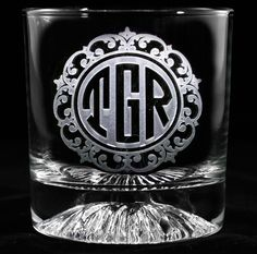 Monogrammed whiskey scotch glass at Crystal Imagery.