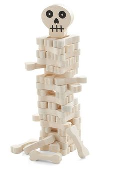 No Funny Bones About It Stacking Game by Kikkerland - Cream, Dorm Decor, Handmade & DIY, Quirky, Good, Halloween, Skulls