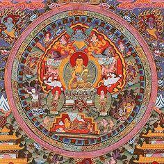 Indian Oriental Art Decor - Hanging Silk Canvas Scroll Art - Inspired by ancient Tibetan Mandalas, 30x23 Inches