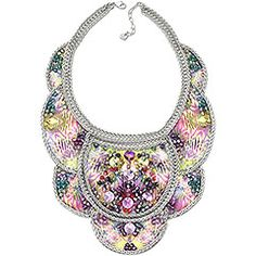 Texture Necklace Treat yourself to a taste of tropical paradise with this beautifully crafted bib necklace. It features Swarovski's exclusive seasonal print on leather embroidered with colorful crystals and rhodium-plated chains. Its supple and delicate structure ensures a very comfortable fit.