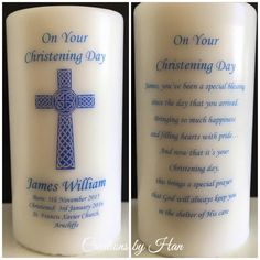 personalised Christening candle with cross and poem on the rear