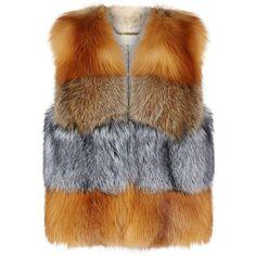 MICHAEL Michael Kors Mixed Fur Gilet (£1,500) ❤ liked on Polyvore featuring outerwear, vests, jackets, fur, vest, fur waistcoat, gilet vest, fox vest, fur vests and fur gilet vest