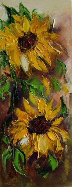 Sunflowers Impression Palette knife Original Oil Painting IMPASTO Europe Artist #ImpressionismImpasto