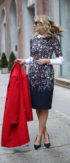 navy white red blush pink floral short sleeve sheath dress, layered white collared button down shirt, navy pointed toe pumps, red wool coat, classic workwear / office style