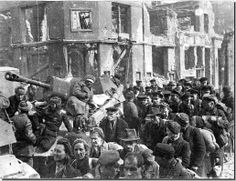 April 1945. Pillau has fallen. Russian soldiers with German civilians