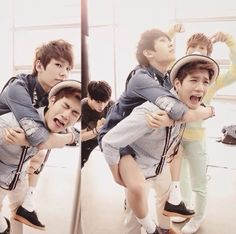 BtoB - Ilhoon on Peniel's back and Eunkwang pointing at them xD