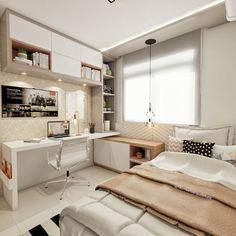 Tiny Bedroom Design, Small Master Bedroom, Small Room Design, Home Room Design, Modern Bedroom, Contemporary Bedroom, Small Bedrooms, Modern Teen Bedrooms, Teenage Bedrooms
