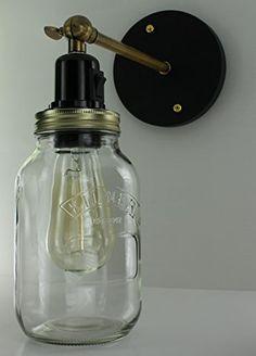 http://ift.tt/1Yp5u2N Marmeladenglas-Wandleuchte Einmachglas Vintage-Retro-Stil industrielle Edison-Glühfaden-Birne Wandleuchte mit Schalter und inkl. Leuchtmittel !(iqeti)#