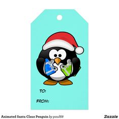 Animated Santa Claus Penguin Pack Of Gift Tags