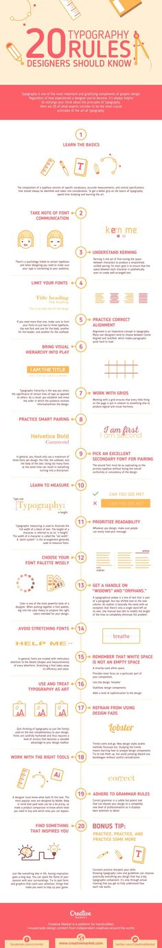 20 Typography Rules Every Designer Should Know - #infographic