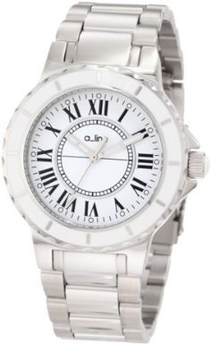 a_line Women's AL-20013 Marina White Dial Stainless Steel Watch a_line. Save 88 Off!. $89.99. Water-resistant to 50 M (165 feet). White Dial with Silver Tone Hands and Black Roman Numerals; Luminous; Stainless Steel Bezel with White Ring; White Cabochon on Crown. Mineral Crystal; Brushed and Polished Stainless Steel Case and Bracelet. Chinese Quartz Movement. Silver Tone Second Hand