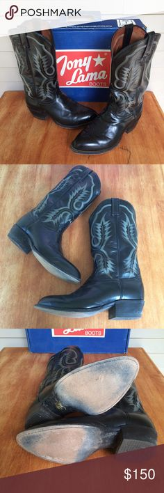 Tony Lama Longhorn Black Cowboy Boots . Tony Lama Shoes Boots