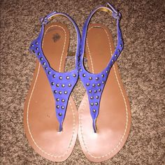 Ralph Lauren size 10 Blue with gold studs, Ralph Lauren size 10 flats. Gently worn and still look new! Ralph Lauren Shoes Sandals