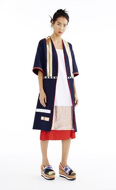 Indigo Denim Coat, Copper and White Pleated Dress, & Saffron Pleated Skirt - Women's Spring 2015 Collection by Clover Canyon