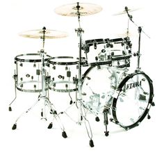 Crystal Ice (clear acrylic) Tama Starclassic Mirage kit - Dom Howard's Drums during Black Holes & Revelations Tour