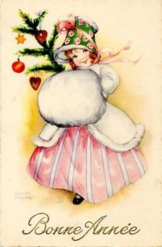 Old New Year Post Card — Bonne année Images Vintage, Vintage Christmas Images, Old Christmas, Old Fashioned Christmas, Victorian Christmas, Retro Christmas, Vintage Holiday, Christmas Pictures, French Christmas
