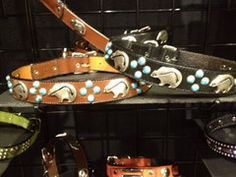 Mideval Turquoise  Bear Collection of collars for pets at Teca Tu in Sanbusco Market. Santa Fe, NM.