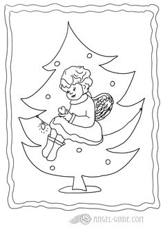 Christmas Angel Coloring Page 1 This Little Is Sitting In A Tree Opening