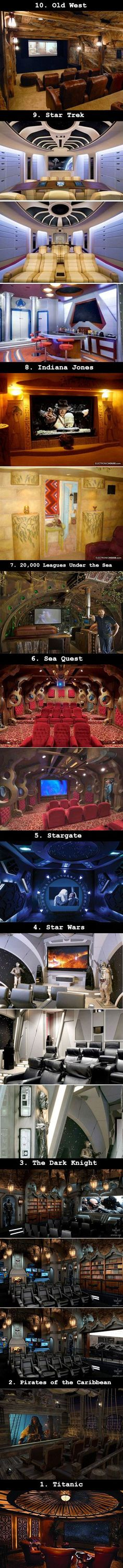 I NEED ALL OF THEM!  (but if I had to pick only one, it'd be Star Trek.) 10 Mind-Blowing Home Theaters That Dreams Are Made Of