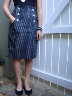 Here is my latest finished project, this time Burdastyle's pattern Kasia skirt made up in our Japanese cotton Imazu Spotted Night. The pattern is fabulous and quick to sew – with very clear instructions. Vintage Sewing Patterns, Clothing Patterns, Dress Patterns, Coat Patterns, Sewing Clothes, Diy Clothes, Clothes For Women, Sewing Coat, Sewing Hacks