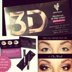 Sunday only flash sale! Two boxes 3D Lashes 2 boxes unopened factory sealed Moon struck 3d lashes from younique black in color. Makeup Mascara